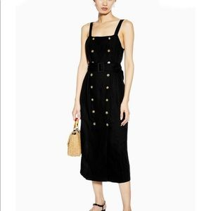 Topshop Black Belted Pinafore Dress With Linen